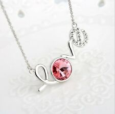 """Fashion Silver """"Love"""" Pendant Chain Pink Crystal Zirconia Necklace Women Jewelry"""