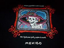 MEXICO DAY Of The DEAD Sugar SKULL Skeleton T SHIRT DRINK TEQUILA Wait To Die LG