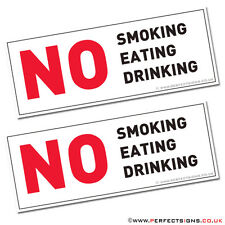 NO SMOKING EATING DRINKING TAXI MINI CAB VEHICLE CAR VAN HGV SIGN STICKERS X 2