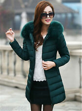 New Winter Women Down Cotton Parka Long Fur Collar Hooded Coat Jacket outwear