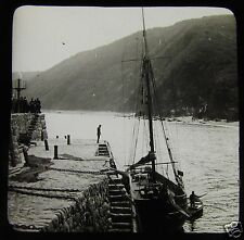 Glass Magic Lantern Slide CLOVELLY PIER - FISHERMEN DEVON C1890 L90 FISHING BOAT