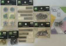 Mixed Lot 8 Pkg Metal Scrapbook Embellishments Eyelet Shapes Phrases Brads Buckl