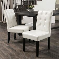 (Set of 2) Ivory Leather Dining Chairs w/ Tufted Button Accents