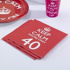 20 x Keep Calm Party Age 40 Napkins 40th Birthday Napkins - Red FREE P&P