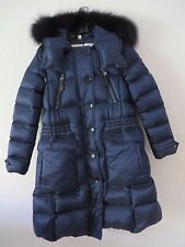 New Burberry London 2016 Navy Ribbmoore Fur Trimmed Puffer Coat Size M MSRP $ 16