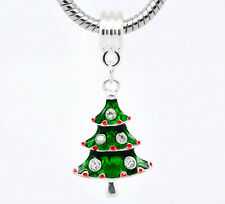 Silver Plated Rhinestone Christmas Tree Dangle Beads Fit European Charm Bracelet