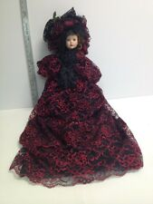 Porcelain Victorian Style Boudoir Doll Black Red Lace Long Dress Hat