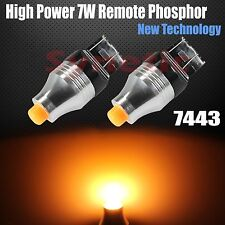 2x 7443 High Power 7W Remote Phosphor Amber Yellow LED Dual Filament Light Bulbs