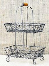 Vintage Chic French Country 2 Tier Metal Wire Basket Display Server Holder Caddy