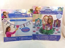 DISNEY FROZEN Birthday Decorations Letter Banner Kit Table Centerpiece Kit NEW