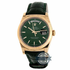 Rolex Day-Date 118138 Auto Gold Fluted Bezel Green Dial Mens Strap Watch
