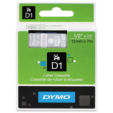 """Dymo 1/2"""" (12mm) White on Clear Label Tape for Dymo Pocket D1 Labels"""