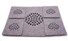 Grey Placemats and Coaster  Felt Table Mats Set of 8 pieces