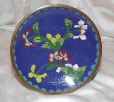 VINTAGE CHINESE CLOISONNE BLUE PIN DISH beautiful rich colors