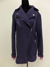 ASOS JACKET COAT ZIP FRONT WOOL BLEND BLUE WOMEN'S SIZE 4