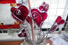 Valentine key to my heart stained glass plant stake
