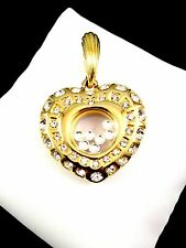 GORGEOUS NOLAN MILLER GLOSSY GOLD-TONE CRYSTAL RHINESTONE FLOATING HEART PENDANT