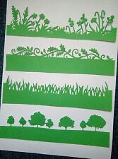 4 x BORDER DIE CUTS English Countryside,Spring,Grass,Trees (Xcut),Cards-Green