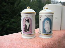 2 Lenox 1995 Cats of Distinction Porcelain Spice Jar Collection Paprika & Dill
