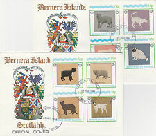 GB Locals - Bernera (2348) Rotary - Cats set of 8 on 2 First Day Covers