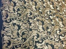 Gold Royalty Leaf Design-embroider On A Black Mesh Lace Fabric-nightgown-prom.yd