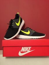 Nike Roshe Run One GS Trainers in Black Lime Green & White Size Uk 5 BRAND NEW