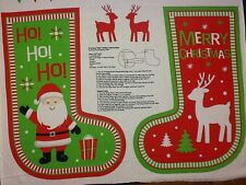 Happy Christmas Large Christmas Stocking Cotton Quilting Panel Fabric