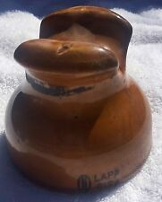 BROWN DRIP CERAMIC WIRE INSULATORS LAPP #6188 THREADED POLE TELEPHONE ELECTRIC