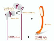 USB LED + Universal Earphone For All Reliance Jio Models And Other Mobile Brands