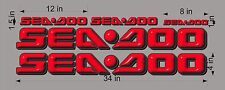 SEA-DOO-RED-3D-LOGO-4x34-DECAL-SET-GRAPHIC-STICKER-PACKAGE, REPLACEMENT