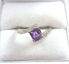 0.65ct Natural Purple Princess Cut Amethyst & Diamond 925 Sterling Silver Ring