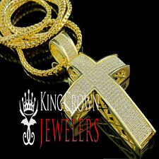 Mens Yellow Gold Finish Lab Diamond Cross Pendant Charm Franco Chain Necklace