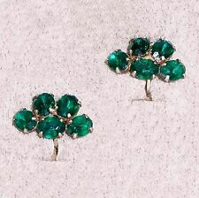 Sterling silver vermeil screwback earrings green rhinestones B9