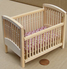 1:12 Drop Sided Natural Finish Cot Dolls House Miniature Nursery Accessory 129