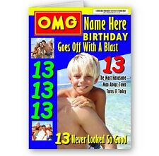OMG Magazine Cover Name, Age & Photo A5 Boys Special Birthday Card