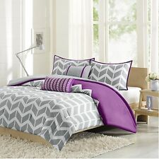 Purple and Grey 5-Piece Chevron Pattern Comforter Set Full/Queen Fresh Decor NEW