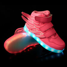 New Boys Girls LED Light up Luminous Sneakers Kids Casual High Wings Dance Shoes