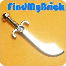 W046A Lego Minifigure Weapon - Sword Scimitar - Chrome Silver from 7074 NEW