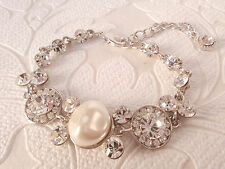 Statement Rhinestone Tennis Bracelet with Swarovski Crystal Glamour Prom Bangle