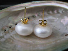 13MM~14MM HUGE Real FW Pearl Stud Earrings Gold Plated 925 Sterling Silver