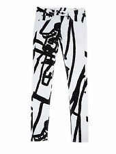 Rag & Bone Black and White Abstract Robot Skinny Jeans Size 25 NWT