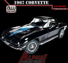AUTOWORLD AMM1099 1:18 1967 CHEVROLET CORVETTE ROADSTER MCACN BLACK