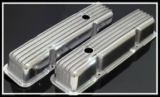 SBC CHEVY 350 383 TALL RETRO STYLE FINNED VALVE COVERS ALUMINUM # S-6181-F