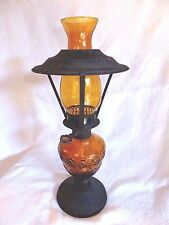 Vintage Amber Glass Oil Lamp Sail Boat Brand Made in Hong Kong