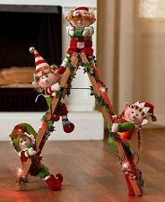 Holiday Lighted Decorative Elf Ladder With 4 Elves Christmas Home Decor