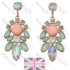 MULTI RHINESTONE chandelier EARRINGS peach,AB,green,aqua,pink GOLD TONE crystal