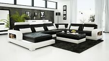 Modern Large LEATHER SOFA Corner Suite NEW RRP £5499 Black OX