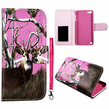 Pink Deer R Strp Wallet Flip magnet iPod Touch 6 6th Gen  S Leather case cover