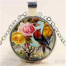 Beautiful Roses & Birds Cabochon Glass Tibet Silver Chain Pendant Necklace