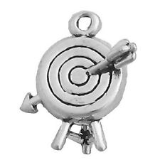 Archery Target with Arrow Charm 925 Sterling Silver 3d Pendant Sports Archer